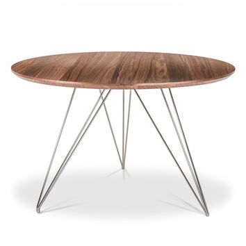 Thayer Dining Table WALNUT/POLISHED STEEL