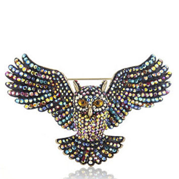 Butler & Wilson Open Wings Crystal Owl Brooch | QVCUK.com