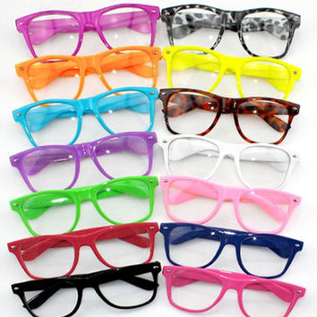 NEW hot candy clear lens eyewear lens glasses frame nerd geek glasses brand designer unisex sun shade men women eyeglasses W1