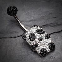 Glistening Panda Tiffany Inspired Belly Button Ring