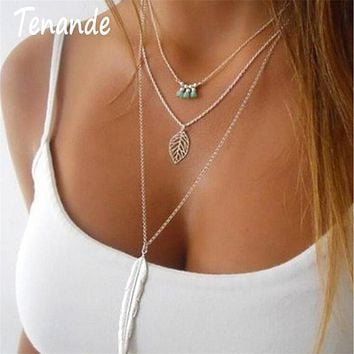 Tenande Vintage 3 Layered Chain Bohemian Seed Beads Leaves Necklaces & Pendants Big Alloy Feather Statement Necklaces for Women