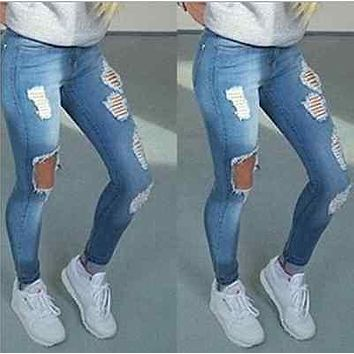 Women Stretch Denim Slim Fit Skinny Jeans Casual Colour Trousers Pants