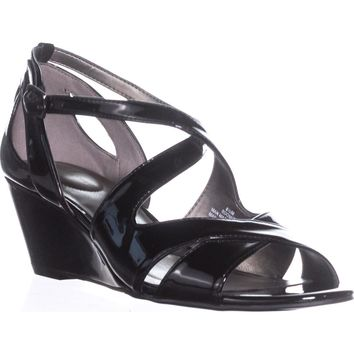 Bandolino Omit Strappy Wedge Sandals, Black, 8.5 US