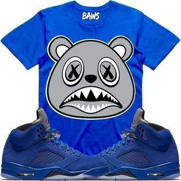 SHADOW BAWS Royal Sneaker Tees Shirt - Jordan 5 Blue Suede