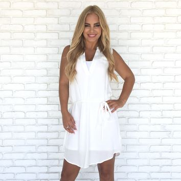 Easy Does It Shift Dress In White