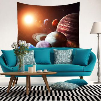 Smiry Brand Cosmic planet 3D print Moon 100% Polyester Beach Blanket Room Divider Yoga Beach fashion Tapestry size 150x130cm
