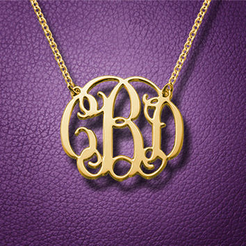 Monogram Necklace, Gold Plating Initial Monogram, Sterling Silver, Personalized Necklace, Mother Gift, Birthday Gift, Customized Monogram