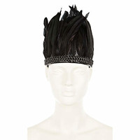 Black chainmail feather head piece - hair accessories - accessories - women
