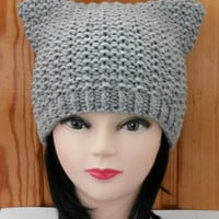 Cat Ear Hat  Knit Cat Ear Hat Cat Beanie Womens  Knit Hat Cat Hat Cat Beanie