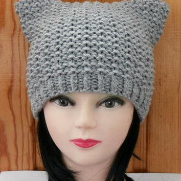 Cat Ear Hat Knit Cat Ear Hat Cat Beanie Womens Knit Hat Cat Hat Cat Beanie 20f5dfb3c2a