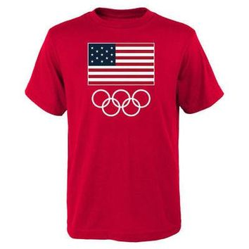 Licensed Sports Team USA 2016 Olympics Flags & Rings T-Shirt - Red KO_20_2