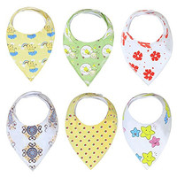 Baby Bandana Drool Bibs Unisex | 6 Pack Gift Set for Newborns to Toddlers | Soft Cotton and Absorbent Polyester | Adjustable Nickel Free Snaps | Nice Shower Gift