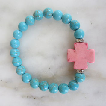 Gemstone Cross Bracelet, Stretch Bracelet, Christian Jewelry, Pink Cross, Fashion Cross, Boho Chic Jewelry, Turquoise Beaded Bracelet