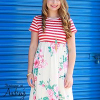 Red Stripe and Floral Print Short Sleeve Dress with Side Pockets