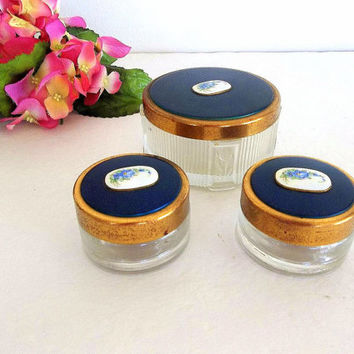 Vintage Three set powder jar & cream pots or rouge jars, Cobalt blue hand painted flowers lids Guilloche style vanity or trinket jewelry box