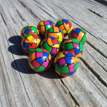 Mosaic multicolored round polymer clay by FlowertownOriginals