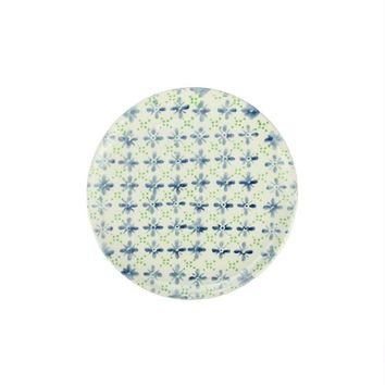 """French Countryside Decorative Blue and Green Flower Round Terracotta Dessert Plate 6.5"""""""