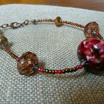 Beaded Ankle Bracelet, red amber brown ankle bracelet, red copper OOAK jewelry, fall color jewelry, anklet, beaded ankle bracelet,red anklet