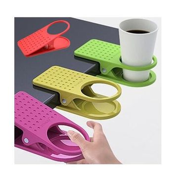 1pc Table Office Supplies Clip Drink Cup Coffee Mug Desk Lap Folder Holder
