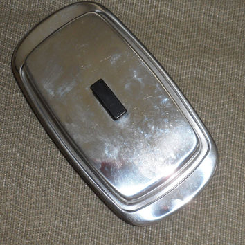 1970's STAINLESS STEEL BUTTER Dish With Cover N Bakelite Handle / Rounded Ends Stainless Steel Butter Dish / Covered Butter Dish / Mod Look
