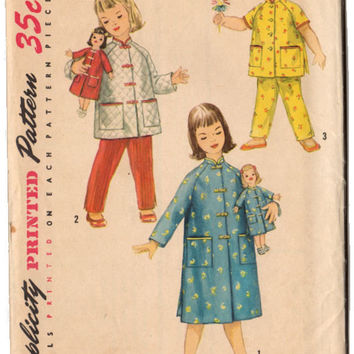 Vintage Simplicity Sewing Pattern 1785 Girls Pajama Pants Matching House Coat for Saucy Walker Doll