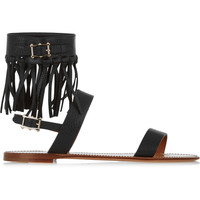 Valentino - Fringed textured-leather sandals
