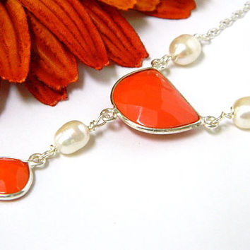 Gemstone Necklace Orange Handcrafted White Pearl Short Silver Chain