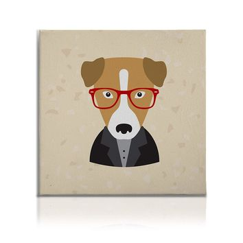 Hipster Animals Pictures Canvas Wall Art Painting Prints Brown Dog