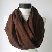 brown striped scarf,infinity scarf, scarf, scarves, long scarf, loop scarf, gift