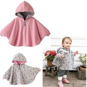 Promotion ! 2016 Fleece Baby Coat Babe Cloak Two-sided Outwear Floral Baby Poncho Cape Infant toddler newborn Baby Coat DK005