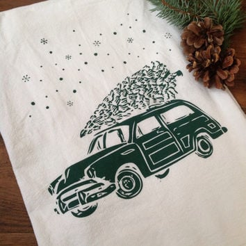 Christmas Tea Towel Retro Car and Winter Evergreen Woody Wagon Tree Snow Holiday Flour Sack Dish Cloth Rustic Woodland Cyber Monday Sale