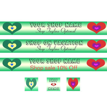 Banner Set - Two Hearts Design1  - OOAK Original Design - Green - Red -Blue - Purple - Yellow