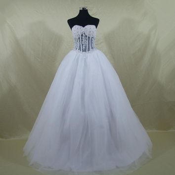 Wedding Dress Sexy Custom Made Vestido De Noiva See Through Back Pearls Wedding Dresses With Real Pictures