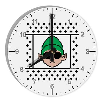 """Cool Elf Christmas Sweater 8"""" Round Wall Clock with Numbers"""