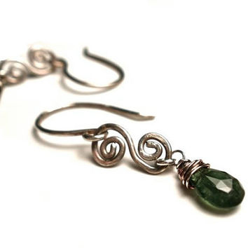 Tiny Green Tourmaline Spiral Earrings in Sterling Silver