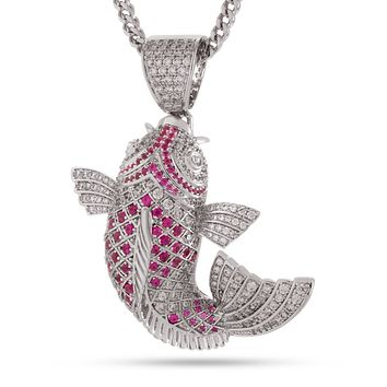 The Gin Rin Kohaku Koi Fish Necklace (White Gold and Red)