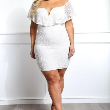 White Floral Off Shoulder Sheer Lace Plus Size Bodycon Dress