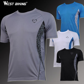 WEST BIKING Cycling Sport Men Bike Bicycle Breathable Tshirts Quick Dry Cycling Running Jerseys Male Short Sleeve T-shirts