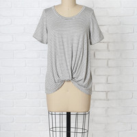 Gray and White Striped Twist Tee
