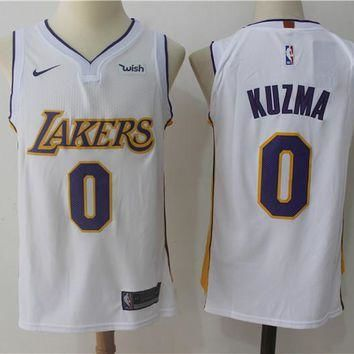 Best Sale Online Nike NBA Basketball Jersey Los Angeles Lakers # 0 Kyle Kuzma White