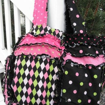 RAG PURSE Diaper Bag Quilted Tote Pink and by avisiontoremember