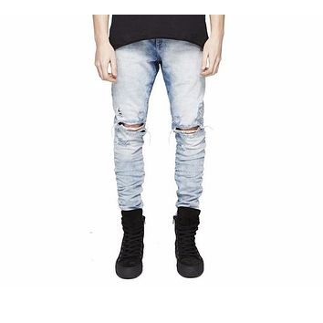 Fashion new design hole pants jogger pants high quality jeans luxury man casual street straight  hip hop