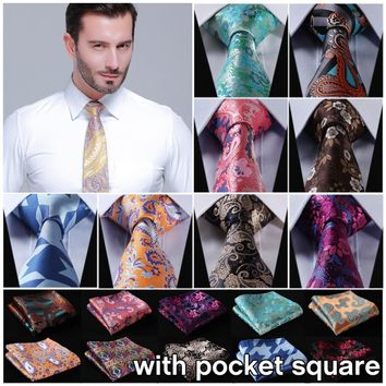 "Floral Stripe 3.4"" Silk Wedding Jacquard Men Tie Necktie Pocket Square Handkerchief Set Suit EFD"