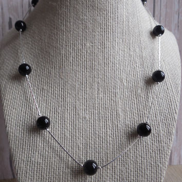 "8"" Silver Tone with Black Faux Pearl Necklace"