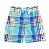 Tulum Plaid Swim Trunks, Blue/Multi, 2T-3T