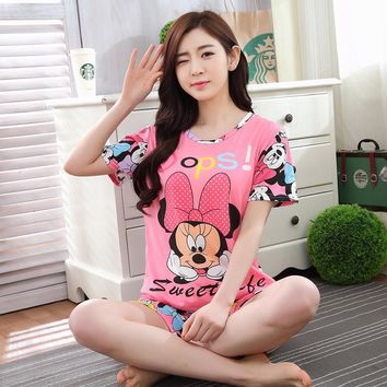 Short sleeved pajamas set for women Nightgown loose sweet Girls milk silk sleepwear suits summer two-piece student leisure wear