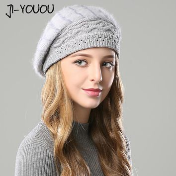 winter hats for women Double layer fur pompom 2017 women's hat knitted cap mask balaclava beanie crocheted berets rabbit