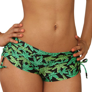 Cheeky Tie Side Marijuana Print Shorts- Sassy Assy