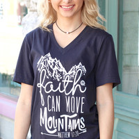 Faith Can Move Mountains V-neck Tee {Dark H. Grey}