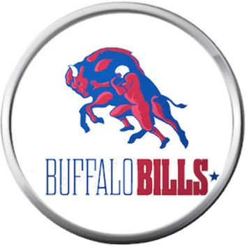 Buffalo Bills Colorful Bull NFL Logo Football Fan Team Spirit 18MM - 20MM Snap Jewelry Charm